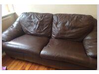 Deep brown leather sofa
