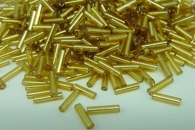 50g Gold Bugle Beads 6mm Tube Silver Lined Jewellery Making Craft for sale  Shipping to Canada