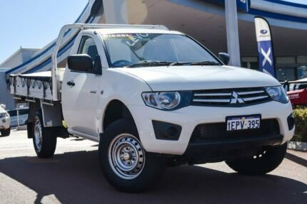 2014 Mitsubishi Triton MN MY15 GLX 4x2 White 4 Speed Sports Automatic Cab Chassis Wangara Wanneroo Area Preview