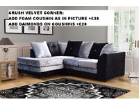 Velvet Sofas **Corner or 3+2**Brand New**Available in different Color**Made In UK**