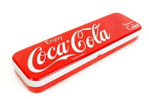 COCA COLA COKE PEN PENCILS CASE HINGED TIN BOX RED & WHITE HARD COVER METAL 7078