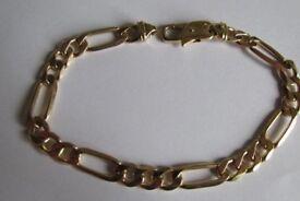 9ct gold figaro bracelet