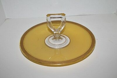 VTG Depression Glass Center Handle Sandwich Tray/Server- Yellow Gold Trim - 11