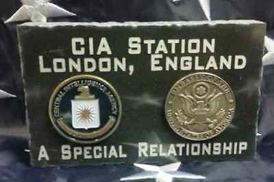 "CIA Station US Embassy London England Jet Black Marble Desk Plaque 5"" x 3"""