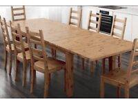 Ikea SVALBO extendable wooden dining table in solid pine