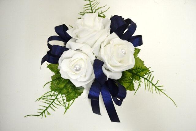 Tischdeko weiß blau Kunstblumen Blumen Gesteck Hochzeit ...
