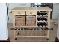 BRAND NEW Wooden Kitchen Trolley with thick wooden top, wicker baskets and drawers