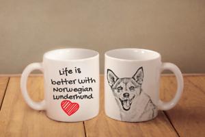 """NORWEGIAN LUNDERHUND - ceramic cup, mug """"Life is better"""",UK - Zary, Polska - Zwroty są przyjmowane - Zary, Polska"""