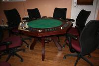 Table de Poker avec 8 chaises
