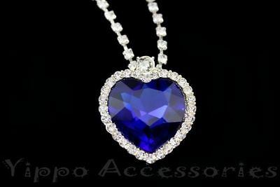 Titanic Heart Of The Ocean Sapphire Blue CZ Crystal Necklace Pendant