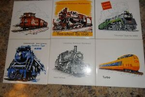 Trains pictured on Ceramic Tiles