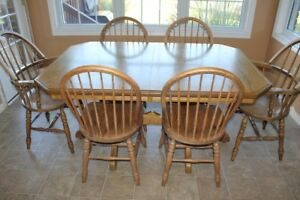 2 Oak Tables and 6 Oak Chairs