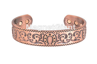 Horseshoe - Solid Copper High Power Magnetic Bangle Bracelet Cuff - BG69C for sale  Shipping to India