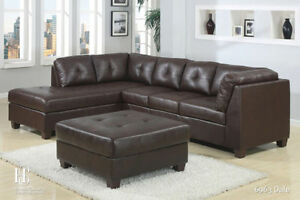 GET THIS BRAND NEW BONDED LEATHER SECTIONAL WITH STORAGE OTTOMA