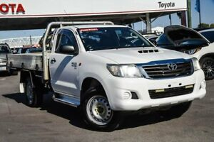 2015 Toyota Hilux KUN26R MY14 SR (4x4) Glacier White 5 Speed Automatic Cab Chassis