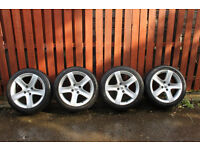 Peugeot set of GENUINE 17 inch Alloy Wheels with Tyres 225/45 R17