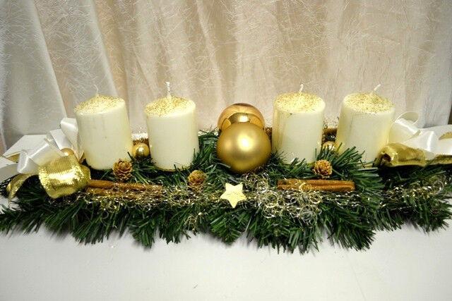 excl adventskranz creme gold 60 cm k nstlich weihnachten. Black Bedroom Furniture Sets. Home Design Ideas