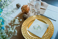Wedding- Gold Charger Plates in Alternating Patterns- 72 Plates