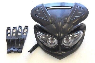 12V 5 Wires Pit Dirt Bike Motorcycle Headlight Light Lamp BLACK I LT06