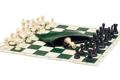 Basic Chess Set Combo - Triple Weighted Regulation Pieces | Vinyl Chess Board -