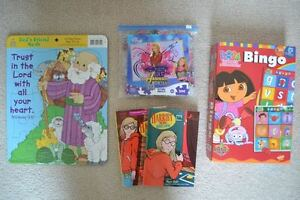 Dora Bingo Game, Noah's Ark Puzzle, Barbie Doll, Books, etc.