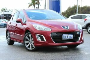 2012 Peugeot 308 T7 MY12 Active Red 6 Speed Sports Automatic Hatchback Greenfields Mandurah Area Preview