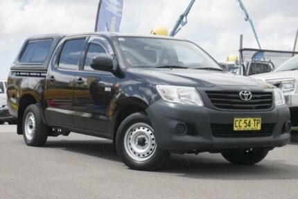 2015 Toyota Hilux TGN16R MY14 Workmate Double Cab 4x2 Black 4 Speed Automatic Utility Pearce Woden Valley Preview