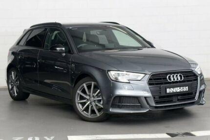 2018 Audi A3 8V MY18 Black Edition Sportback S Tronic Grey 7 Speed Sports Automatic Dual Clutch Zetland Inner Sydney Preview