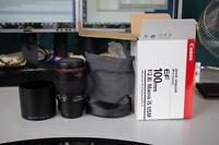 new canon EF 100 2.8 L IS USM macro lens in box