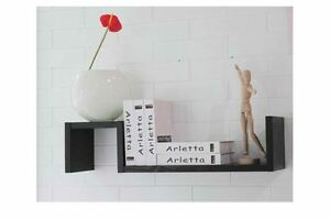 etagere murale noire 2 niveaux cd dvd tag re sans equerre etagere ebay. Black Bedroom Furniture Sets. Home Design Ideas