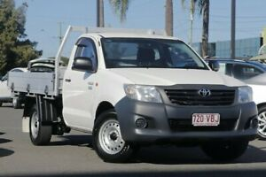 2014 Toyota Hilux TGN16R MY14 Workmate 4x2 White 5 Speed Manual Cab Chassis Upper Mount Gravatt Brisbane South East Preview