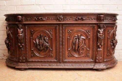 ANTIQUE CARVED OAK FIGURAL HUNT-BOARD, BUFFET, BACKBAR WITH SATYRS 19th Century