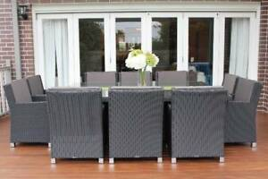 WICKER DINING SETTING,, EUROPEAN STYLED,B/NEW,10 SEATER
