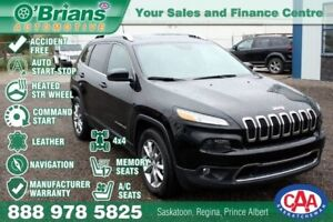 2017 Jeep Cherokee Limited - Accident Free! w/Nav, 4x4, Command