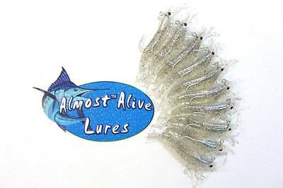 """4/"""" Hooked Natural Color Almost Alive 10 Soft Plastic Finger Mullet Lures,"""