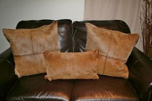 Cow hide pillows, set of 3, like new condition