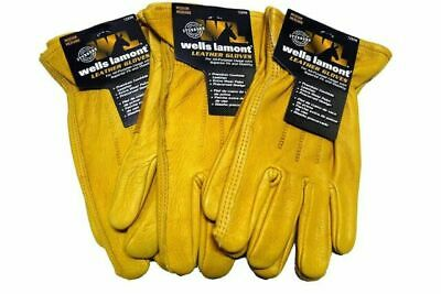 3 Pack Wells Lamont Premium Cowhide Leather Work Gloves