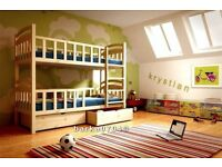 New very safe bunk bed KRYSTIAN – for children - solid pine wood - wooden bunk beds