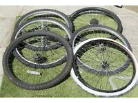 Six Bicycle Wheels