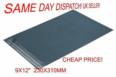 Offer 25 x Grey Plastic Poly Mailing Bags 230 x 310 mm 9 x 12 9x12 uk stock A4
