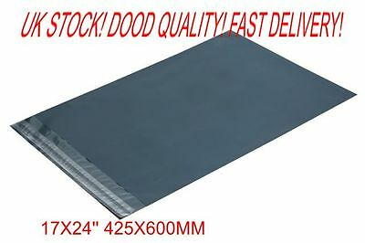 100 x Grey Plastic POLY Mailing Bags 425 x 600 mm 17 x 24 100x 17x24  UK STOCK