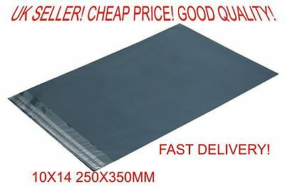 10x 10 Grey poly postal packaging mailing bags 10x14
