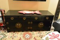 Low Black Lacquer Chinese Dresser/Credenza