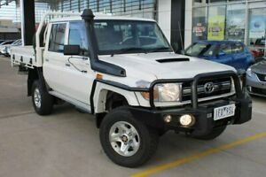 2015 Toyota Landcruiser VDJ79R GXL Double Cab White 5 Speed Manual Cab Chassis Hoppers Crossing Wyndham Area Preview