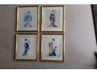 4 Pictures of Japanese ladies in Traditional Costumes (41x35cm)