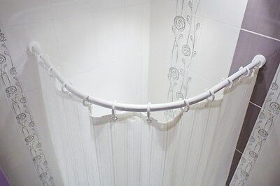 Aluminio Barra Arco 130x130 CM para Cortina de Baño Ovalado Blanco Oval...