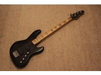 Bass Guitar, Overwater by Tanglewood, 4 string active black, plus case