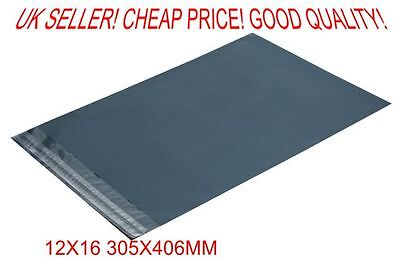 25x 25 Grey poly postal packaging mailing bags 12x16