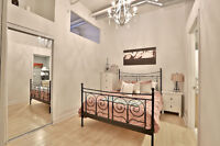 Queen Black Metal Bed Frame, with Spring Mattress