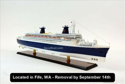 """SS Norway Passenger Cruise Ship 40"""" - Handcrafted Wooden Ocean Liner Model"""